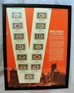 Original WWII Overrun Countries Set of Framed STAMPS  World of Stamps Series