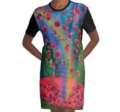 Raining Roses 2 graphic tee shirt dress featuring the art of Carol Cavalaris.