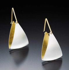 Spinnaker Earrings: Thea Izzi: Silver & Gold Earrings - Artful Home