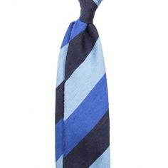 Handrolled Striped Shantung Silk Tie - Navy/Blue/Light Blue - Ties (8cm) - Accessories