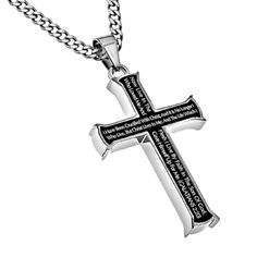 Galatians 2:20 Black Cross Necklace CRUCIFIED WITH CHRIST Bible Verse, Stainless Steel Thick Chain