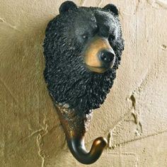 Black Bear Hand Painted Sculpted Single Wall Hooks, Set of 3 Black Bear Decor, Pallette, Running Bear, Coat Hooks On Wall, Log Cabin Furniture, Wood Craft Patterns, Bay Horse, Wildlife Decor, Rustic Cabin Decor