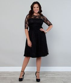 plus size black lace cocktail dress with 3/4 sleeves. Need longer length.