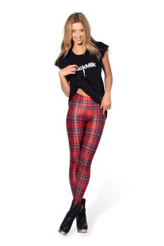 Tartan Red Leggings | Black Milk Clothing - M or L