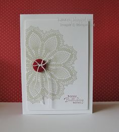 I really love that red zing!  This would look fantastic with our Love Doily stamp set. If you used the new Metallic Bakers Twine to do the bow on your button, this would have some sparkle. You could use any colour as your zinger. If your sentiment is a large one, it could over stamp the doily.