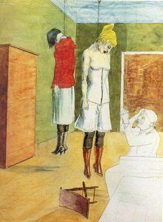 Rudolf Schlichter: Der Künstler mit zwei erhägten Frauen, 1924.