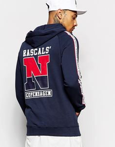 """Hoodie by Rascals Soft-touch sweat Raglan sleeves Drawstring hood Branded taping Logo print Pouch pocket Ribbed trims Regular fit - true to size Machine wash 100% Cotton Our model wears a size Medium and is 185.5cm/6'1"""" tall"""