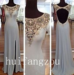 3edb606d3f4 Elegant Gray Chiffon Open Back Long Evening Party Formal Dress Gown Custom  Beads all colors Sparkly