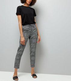 Black Tile Print Tapered Tie Waist Trousers | New Look