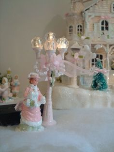 Shabby pink victorian christmas village lamp post and figure glitter roses lace
