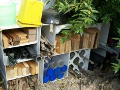 "Ways to organize loose parts outside.  from Jenny Kable's superb blog ""let the children play."""