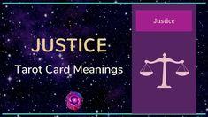 Justice Tarot Card Meanings Justice Tarot, Free Tarot, Tarot Card Meanings, Meaningful Life, Major Arcana, Tarot Cards, Meant To Be, Videos, Tarot