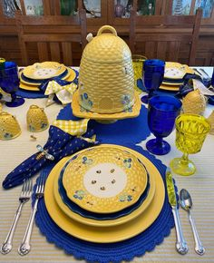 Yellow Tablecloth, Blue Placemats, Wood Bees, Bee Design, Candle Centerpieces, Vintage Tablecloths, Blue Plates, Bee Happy, Ballard Designs
