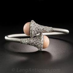 French Platinum Coral and Diamond Springy Bangle Bracelet