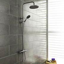 Large shower head plus removal one. Cruze Modern Thermostatic Shower - Chrome Medium Image