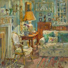 Susan Ryder RP NEAC (b.1944) — Lamplight and Fireplace (750x740)