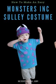 Simple Monsters Inc Halloween costume ideas including James P. Sullivan, aka Sulley and the Monsters University Mike Wazowski. These DIY Sully and Mike costumes are easy to make using t-shirts, felt and a hat. Add Randall and Boo and you have a great Disney family costumes for 4. Mike and Sully Costume | Monsters Inc Family Costume