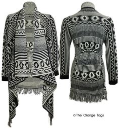 LADIES WATERFALL BOYFRIEND CARDIGAN AZTEC PRINT FRINGE PONCHO WOMENS KNITWEAR in Clothes, Shoes & Accessories, Women's Clothing, Jumpers & Cardigans   eBay