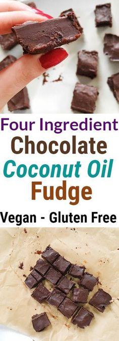 Four Ingredient Dark Chocolate Coconut Oil Fudge #vegan #chocolate #fudge #coconutoil #dessert #glutenfree #paleo #healthy #dessert #snack #cacao #nobake