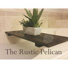 Wood Bathtub Caddy -Rustic -Tub Tray (€155) ❤ liked on Polyvore featuring home, bed & bath, bath and bath accessories