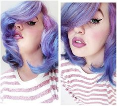 If you thought that only celebrities can rock rainbow hair, think again. There's no reason to resign yourself to a normal coif — you don't need a glam Funky Hairstyles, Pretty Hairstyles, Rainbow Hairstyles, Blond, Hair Color And Cut, Hair Cut, Lavender Hair, Purple Hair, Pastel Purple