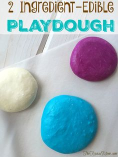 EASY to make 2 ingredient - edible playdough that kids love! Great activity to do at parties and to keep them busy at home.