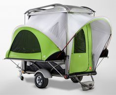 Dying to own a camping trailer but don't own a truck? No problem, the SylvanSport Go Camper is a meager 860 pounds, so even a Mini Cooper can tow this thing around. It hunkers down in a low-profile trailer when driving, can be stacked with car racks for bikes and kayaks or even carry dirt bikes while in transit, and then—with the crank of a handle—blossoms into a spacious 4-person tent. Even the mattresses are eight feet long, resting dreamily off the ground right in the cross-breeze.