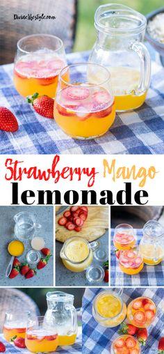 How to Make Strawberry Mango Lemonade Frozen Drink Recipes, Sangria Recipes, Drinks Alcohol Recipes, Beer Recipes, Margarita Recipes, Smoothie Recipes, Smoothies, Mango Drinks, Summer Drinks