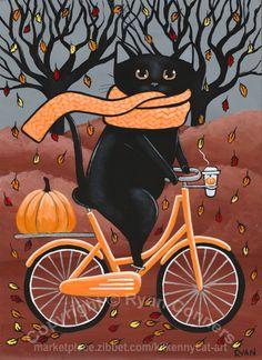 Autumn Black Cat and Coffee Bicycle Ride Original Cat Folk Art Painting Black Cat Art, Cat Wallpaper, Autumn Art, Here Kitty Kitty, Halloween Cat, Cat Drawing, Whimsical Art, Crazy Cats, Cute Art