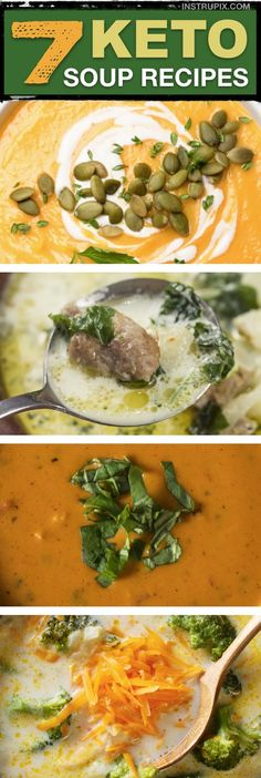 Easy Low Carb Keto Soup Recipes -- all made with simple ingredients. Quick and e. Easy Low Carb Keto Soup Recipes -- all made with simple ingredient. Low Carb Soup Recipes, Ketogenic Recipes, Diet Recipes, Cooking Recipes, Healthy Recipes, Easy Recipes, Recipes Dinner, Ketogenic Diet, Breakfast Recipes