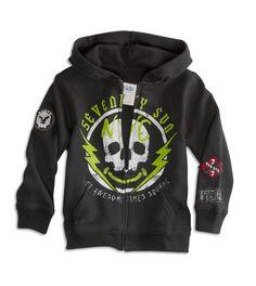 77 kids gray skull hoodie