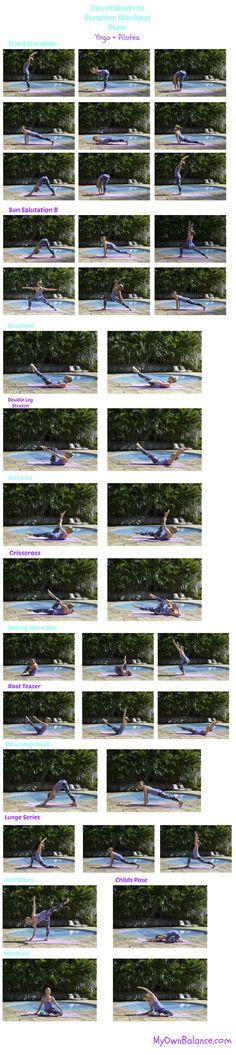 Countdown to Summer Workout Plan- Pilates + Yoga Summer Workout Plan, Countdown Workout, Printable Workouts, Pilates Yoga, Brittany, How To Plan, Fitness, Bretagne