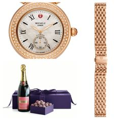 Pink champagne in chocolate with rose water and wrapped in crushed rose buds complimented by a lovely Rose Gold watch!
