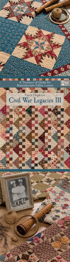 Create stunning Civil War-style quilts that don't require a long attention span, a major time commitment, or yards of fabric. You'll love best-selling author Carol Hopkins's helpful tips for selecting just the right fabrics to achieve a scrappy, vintage look: it's all in her latest book, Civil War Legacies III.