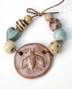 Bee Happy / Bumble Bee Ceramic Pendant and Bead Set by gaea, $20.50