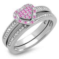 Share for $20 off your purchase of $100 or more! 0.23 Carat (ctw) Sterling Silver Round Pink Sapphire & White Diamond Ladies Heart Shaped Bridal Engagement Ring With Matching Band Set 1/4 CT - Dazzling Rock #https://www.pinterest.com/dazzlingrock/