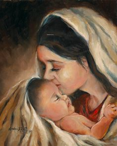 Blessed Of God  Mother Mary and Baby Jesus by SandraRastArtInc