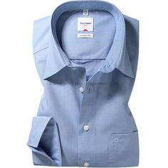 Olymp - Olymp Mid Blue End On End Shirt - Comfort Fit