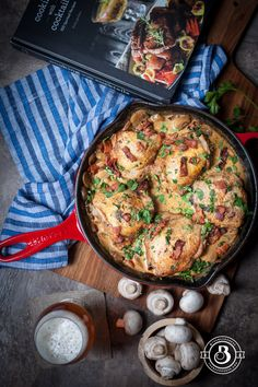 Lager-Simmered Chicken Thighs - The Beeroness | Boozy Recipe from the cookbook, Cooking With Cocktails