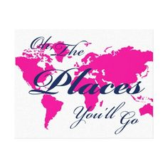 Hot pink world map with navy Oh The Places You'll Go nautical nursery canvas decor for girls
