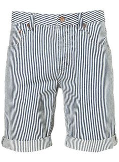 Striped Denim Shorts - Topman Price: £30.00