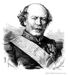 Illustration showing a portrait of Maréchal Canrobert, Marshal of France (1809-1895), a French officer who spent the first part of his career in the war for the conquest of Algeria and was politically close to Napoleon III.