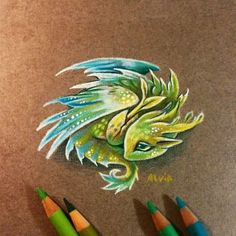 Forest or air baby dragon? You can see a miniature prints of my hatchling dragons serie for small pendants (: &n. Creature Drawings, Animal Drawings, Fantasy Drawings, Fantasy Art, Fantasy Tattoos, Colorful Drawings, Cool Drawings, Painting & Drawing, Cute Dragon Drawing