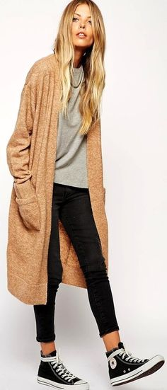 Tan Long Line Cardigan by Le Fashion