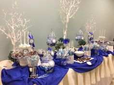 Royal Blue and cream candy buffet for a product launch perfectlyposhct@hotmail.com for info