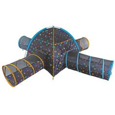 Pacific Play Tents Kids Glow In The Dark Galaxy Junction Play Tent And Tunnel Combo Kids Tents, Play Tents, Play Tent And Tunnel, Playhouse Kits, Dark Galaxy, Waterproof Flooring, Dome Tent, Dark Star, Shining Star