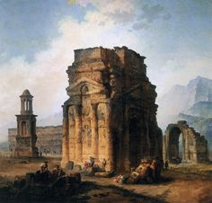 Hubert Robert (French, The Arc de Triomphe and the Theater of Orange, 1787 Musée du Louvre Rome Antique, Equestrian Statue, Medieval Life, Triomphe, Ancient Ruins, Classical Art, Ancient Architecture, Environmental Art, Art Reproductions