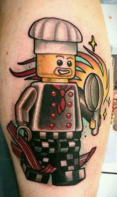 For the love of plastic food. | 32 Lego Tattoos That Will Thrill Your Inner Child