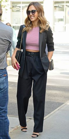 High waist pants, blazer, crop top.