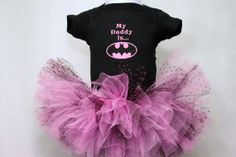 Items similar to Personalized Batman pink tutu polka dot My daddy uncle grandpa brother papaw custom embroidery onesie hairbow and tutu set on Etsy Batman Baby Clothes, Baby Batman, Cute Baby Clothes, Baby Batgirl, Batman Clothing, Couple Outfits, Girl Outfits, Punk Rock Outfits, Edgy Outfits